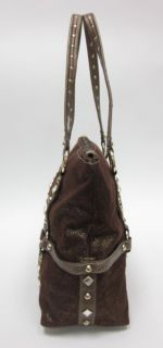 Kathy Van Zeeland Metallic Studded Shoulder Handbag Bag