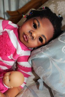AA Toddler Big Baby Reborn Girl Ethnic Doll African Black Kenia by