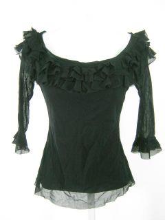 Elana Kattan Black Ruffle Sheer 3 4 Sleeve Shirt Sz XS