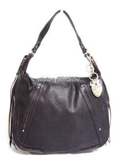 Kathy Van Zeeland Luxury Ziptop Slouchyhobobag w Tassel Details Black