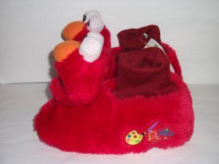 Elmo Sesame Street Plush Red Sock Top Slippers Toddler Girls Boys Size
