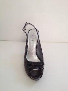New Guess Black Kaycee Snakeskin Print w Bow Platform Pumps Shoes