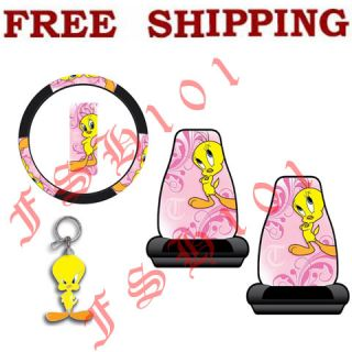 Tunes Tweety Bird Pink Seat Covers Steering Wheel Cover Set