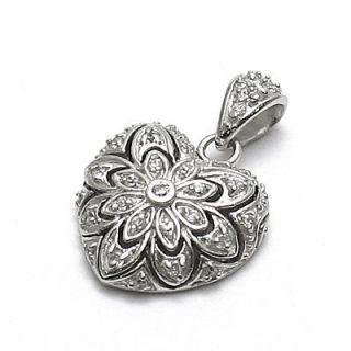 Sterling Silver Flower Design Heart Pendant KC109
