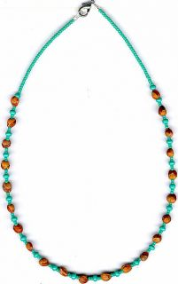 NAVAJO MENS WOMENS GHOST BEAD CEDAR BEAD NECKLACE#10, NATIVE AMERICAN