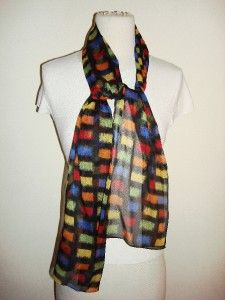 Kathie Lee Collection Made Italy Scarf Neck Wrap Black Square Print