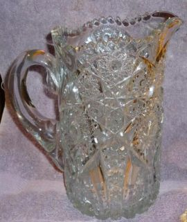 Vintage Pressed Glass Water Pitcher Elaborately Etched Starbursts
