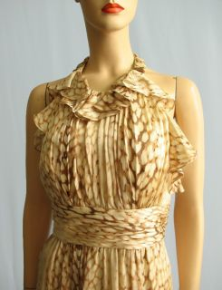 Kay Unger Brown Leopard Silk Halter Dress Sz 14