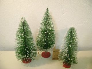 Sisal Green Christmas Pine Trees w Snow Primitives by Kathy
