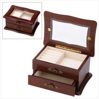 Elegant Small Keepsake Box Wood Window Jewelry Box