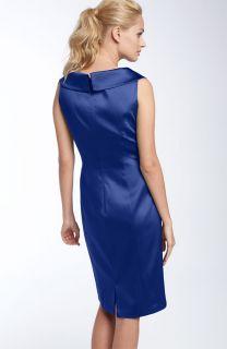 Kay Unger Portrait Collar Stretch Satin Sheath Dress Mob 4 $328 00