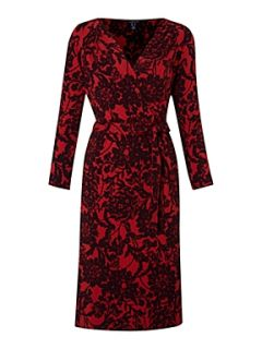 Lands End Women`s floral print crepe jersey wrap dress Red
