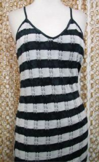 Womens Black White Striped Knit Kayla Maxi Dress New $165 Sz M