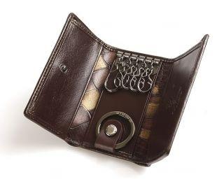 Mens & Womens Genuine Leather Key Chain Holder Case Wallet Black Brown