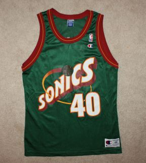 Vtg Shawn Kemp Seattle Supersonics Champion Basketball Jersey 44 NBA