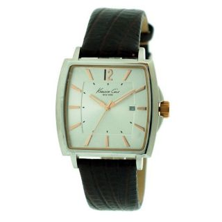 Kenneth Cole New York KC1804 Mens Silver Dial Brown Calfskin Strap