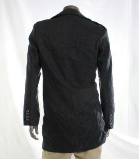 Kenneth Cole Reaction New Gray Mens Wool Herringbone Basic Car Coat