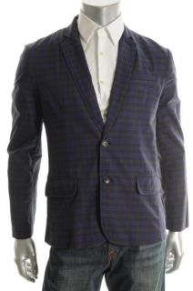 Kenneth Cole Reaction New Blue Plaid Long Sleeve Two Button Sportcoat