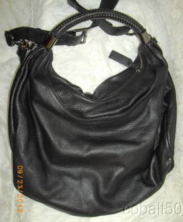 Kenneth Cole Black Leather No Slouch Hobo Bag w Detachable Shoulder