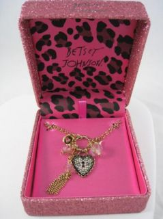 Betsey Johnson Authentic Jewelry Heart Lock Fringe Bead Pendant