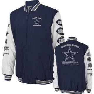Dallas Cowboys Navy Commemorative 5X Super Bowl Champs Canvas Jacket