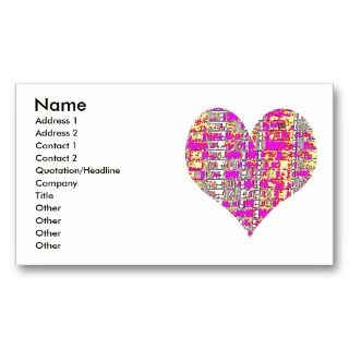 Pink Wink Heart Throb Business Cards