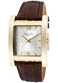 Kenneth Cole Watch KC1871 Mens Silver Dial Brown Leather