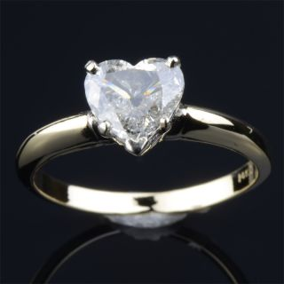 One Carat Natural Diamond Ring Heart Cut Wedding Solid Yellow and