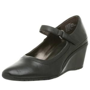 Womens Rockport Black Kerwin Wedge Mary Jane Shoes