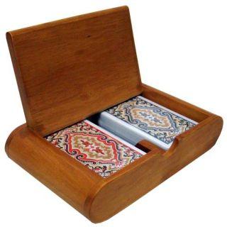 KEM Plastic Playing Cards Paisley Bridge Reg Wood Box