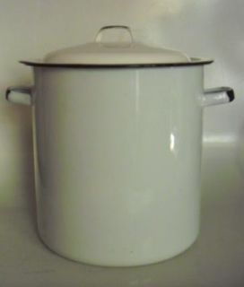 Vintage Porcelain Enamel Stove Top Deep Kettle White with Black Trim