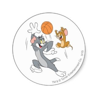 Tom and Jerry Basketball 1 Round Stickers