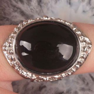 Black Onyx Agate Oval Bead Finger Ring Size 9 Hot