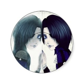Anime twins missing each other stickers