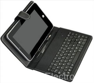Wide Leather Case Cover USB Keyboard with Stylus for Android Tablet