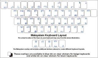 Malayalam Keyboard Stickers White Letters Reverse Print