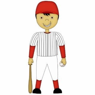 Cute Cartoon Baseball Player Red & White Uniform Photo Cutouts