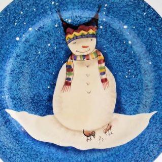 Snowman Blue Earthenware Dinner Plate Debbie Taylor Kerman Mint