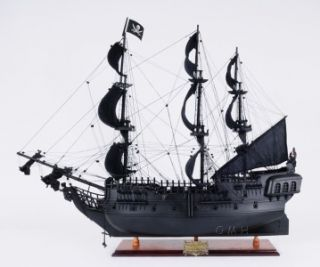 MAGNIFICENT HANDMADE BLACK PEARL PIRATE SHIP WOODEN MODEL 35 INCHES.