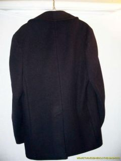 Vintage US Navy Issue Pea Coat Kersey Wool LG Single Breasted Great