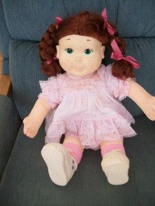 Vintage 1986 Playskool Kid Sister Auburn Hair Green Eyes Pig Tails