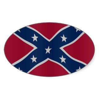Confederate flag oval stickers
