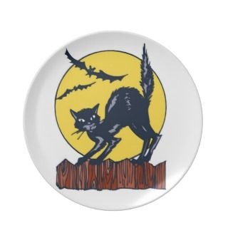Black Cat on Fence Party Plates