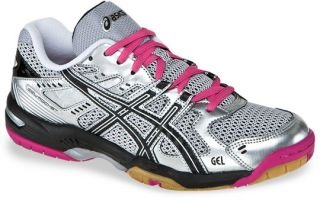 Womens Asics Gel Rocket 6 Volleyball Shoe Silver Black Pink
