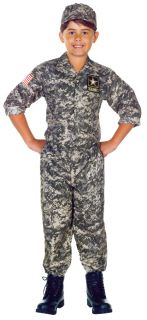 Kids Army Soldier ACU Digital Camo BDU 3pc Halloween Costume Set Child