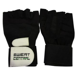 Black Leather Weight Lifting Gym Glove Long Wrist Strap