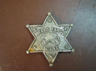 Vintage Wells Fargo Agent Toy Badge Heavyweight Metal Stagecoach Stars