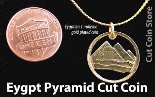 Eygpt Great Pyramid Cut Out Coin Eygptian Pyramids Giza Pendant Charm