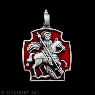 SAINT GEORGE MOUNTED KILLS DRAGON CROSS CHRISTIAN MEDAL SILVER PLATED