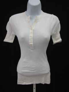 Kier J White Button Neckline Short Sleeve Shirt Top S